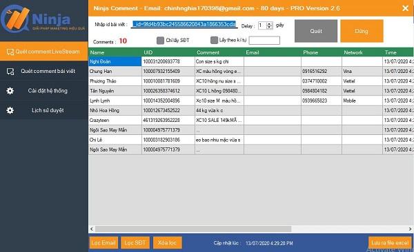 Phần mềm lọc đơn hàng live stream